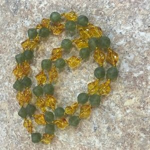 Chunky Beaded Necklace Green and Yellow Mala